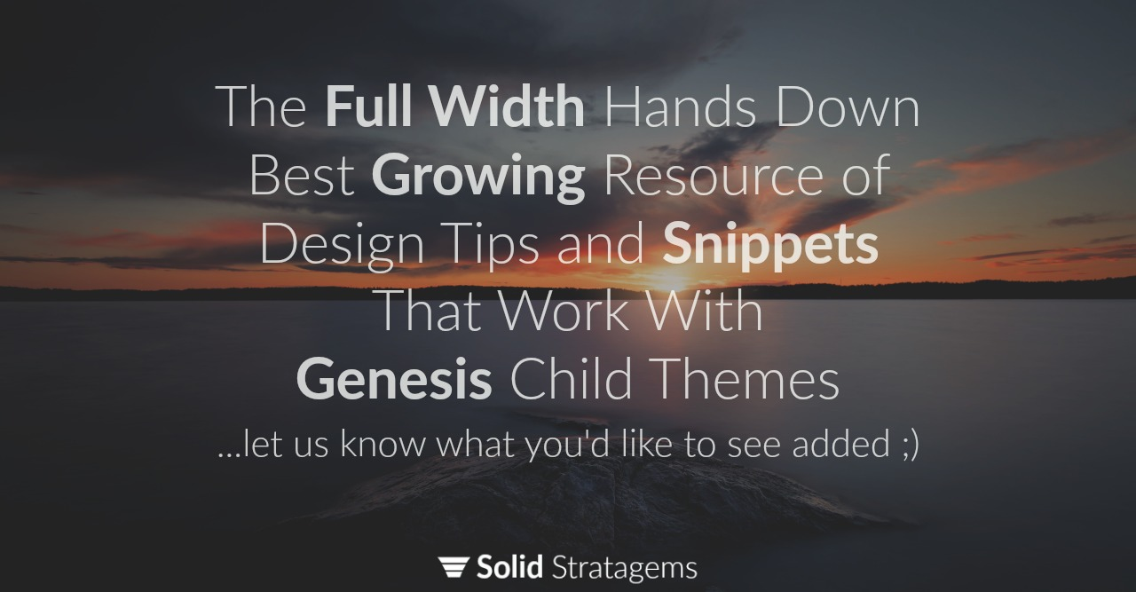 Genesis Child Theme Design Snippets