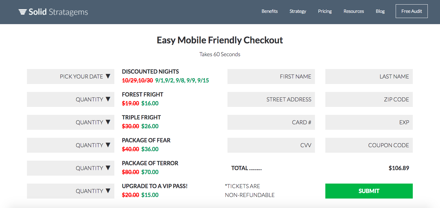 Checkout and Signup Page Optimization After Sample